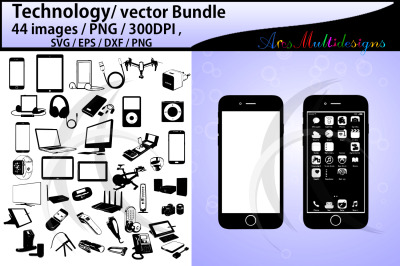 technology silhouette / vector bundle / electronics