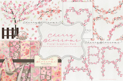 Cherry Blossoms 04 - Floral Graphics Pack