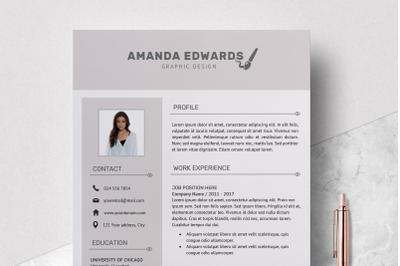 Modern Resume Template / Resume Design Template - Amanda
