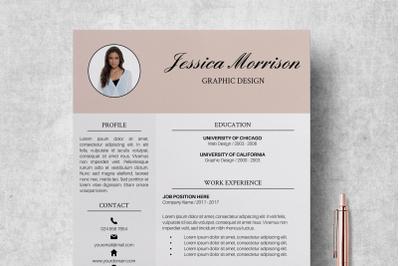 Photo Resume Template / CV Template Word - Jessica