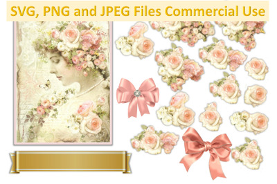 Vintage Flower Girl Collage Decoupage COmmercial Use