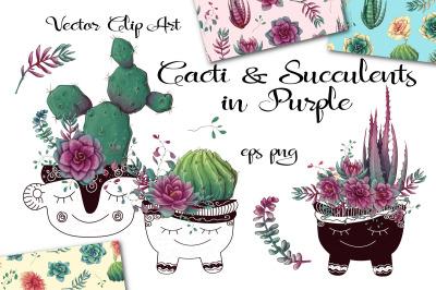Cacti & Succulents in purple