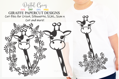 Giraffe papercut design