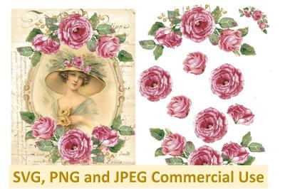 Vintage Flower Girl 2 Collage sheet commercial use