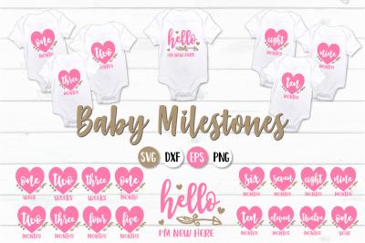 Baby Girl Milestones -SVG, PNG, DXF, EPS