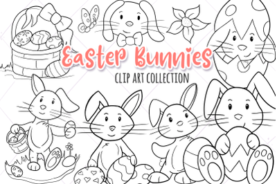 Easter Bunny Digital Stamps