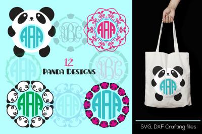 Panda Monogram Frames Svg cutting file, panda designs, SVG, DXF, Cricut Design Space, Silhouette Studio,Digital Cut Files