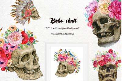 Skulls with flowers .human skull.Boho style