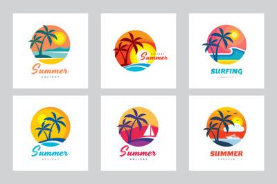 Tropical Summer Holiday - Logo Set