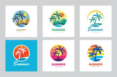 Summer Tropical Travel - Logo Set