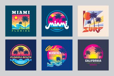 T-Shirt Summer Badges - Vector Set