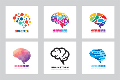 Human Brain Vector Logo - Mind Sign