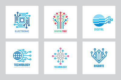 Digital Technology Vector Logo Set