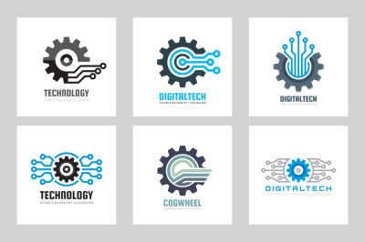 SEO Technology Gear Logo Set