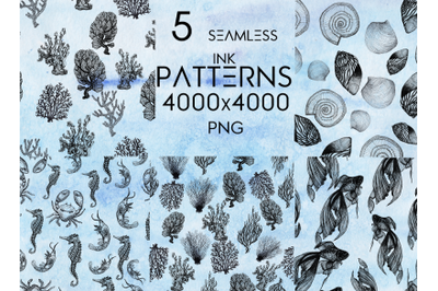 5 seamless patterns in ink (sea theme)