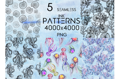 5 seamless patterns in ink and watercolor (sea theme)