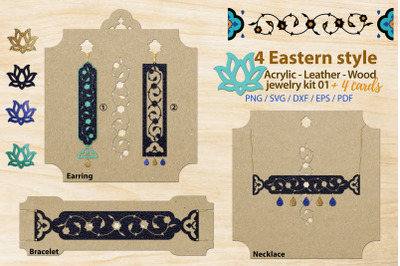Eastern style acrylic leather wood jewelry kit