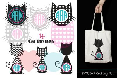 Cat Head Monogram Frames Svg cutting file,Cat Desings SVG, DXF, Cricut Design Space, Silhouette Studio,Digital Cut Files