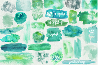 40 Turquoise Watercolor washes