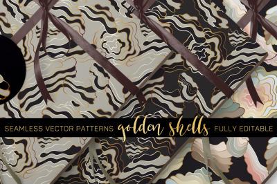 """""""Golden Shells""""  Vector Patterns - fully editable"""