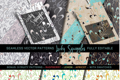 """""""Lucky Squiggles"""" Vector Patterns - fully editable"""