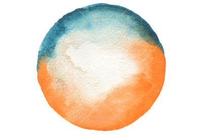 Circle watercolor painted background. Texture paper.