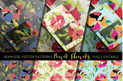 """""""Power Flowers"""" Vector Patterns - fully editable"""