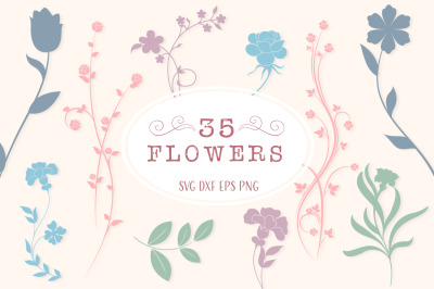 Flower Silhouettes SVG Cut Files Pack