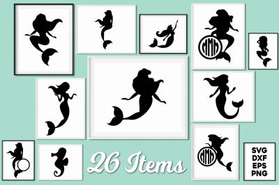 Mermaid Silhouettes and Mermaid Monograms SVG Cut Files Pack
