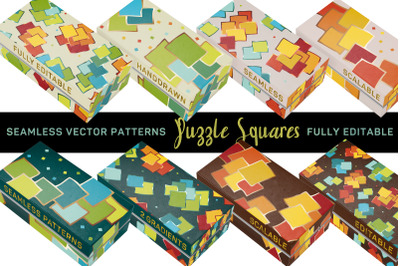 """""""Puzzle Squares"""" Vector Patterns - fully editable"""