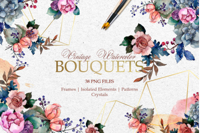 Bouquets Vintage flower Watercolor png