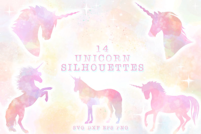 Unicorn Silhouettes SVG Cut Files Pack