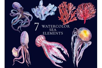 7 watercolor sea illustrations