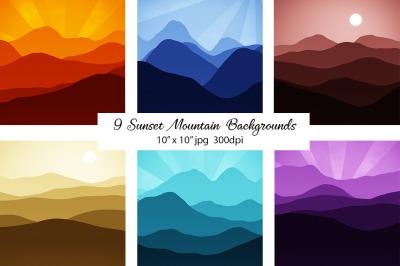 Sunset Mountain Backgrounds Bundle