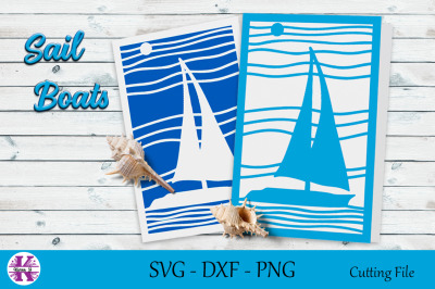 Sail Boat Cut File-SVG DXF PNG-For Crafters