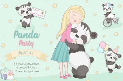 Panda Party Illustration Set