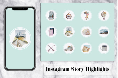 Trip Instagram Story Icons - Mint & Watercolor