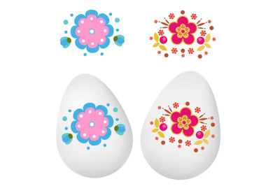 Easter eggs decoration stickers. Realistic eggs for spring seasonal de