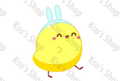 Cute kawaii  Easter chicken icon