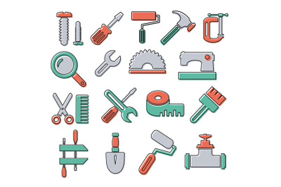 Linear icons with building tools