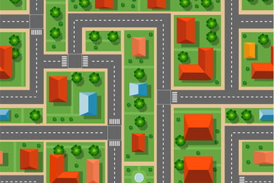 Top view of the city seamless pattern