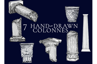 7 greek and roman colonnes in ink