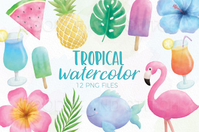 Tropical Summer Watercolor Illustrations
