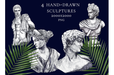 4 PNG transparent individual greek sculptures