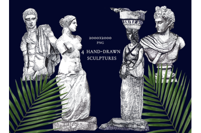 Ancient individual greek and romab sculptures