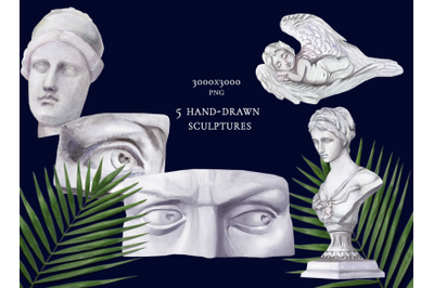 5 hand drawn watercolor sculptures