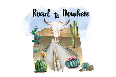 Road to Nowhere, Desert Watercolor Clipart, Sublimation File