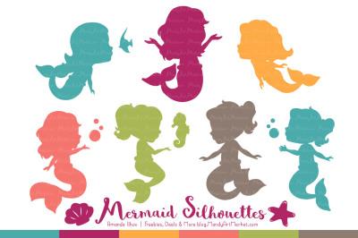 Sweet Mermaid Silhouettes Vector Clipart in Bohemian