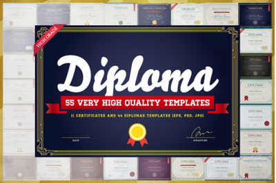 Awesome 55 Diploma & Certs Templates