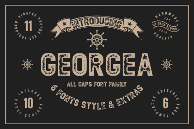GEORGEA ALL CAPS FONT FAMILY WITH EXTRAS